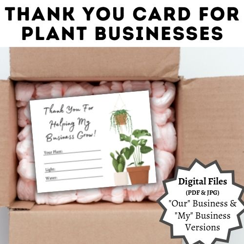 plant care thank you card